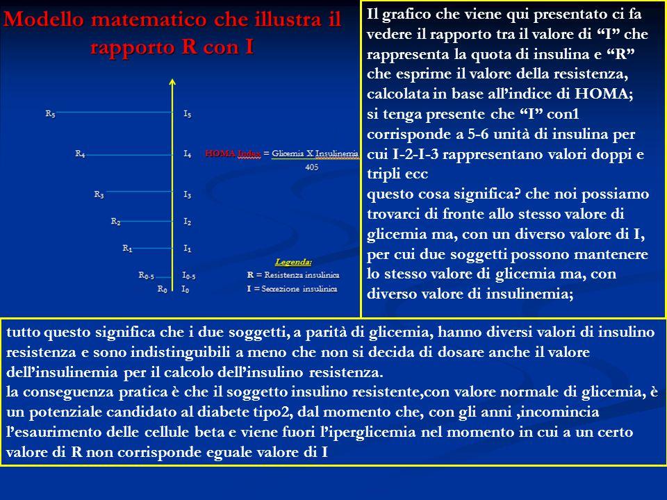 """Il grafico che viene qui presentato ci fa vedere il rapporto tra il valore di """"I"""" che rappresenta la quota di insulina e """"R"""" che esprime il valore del"""