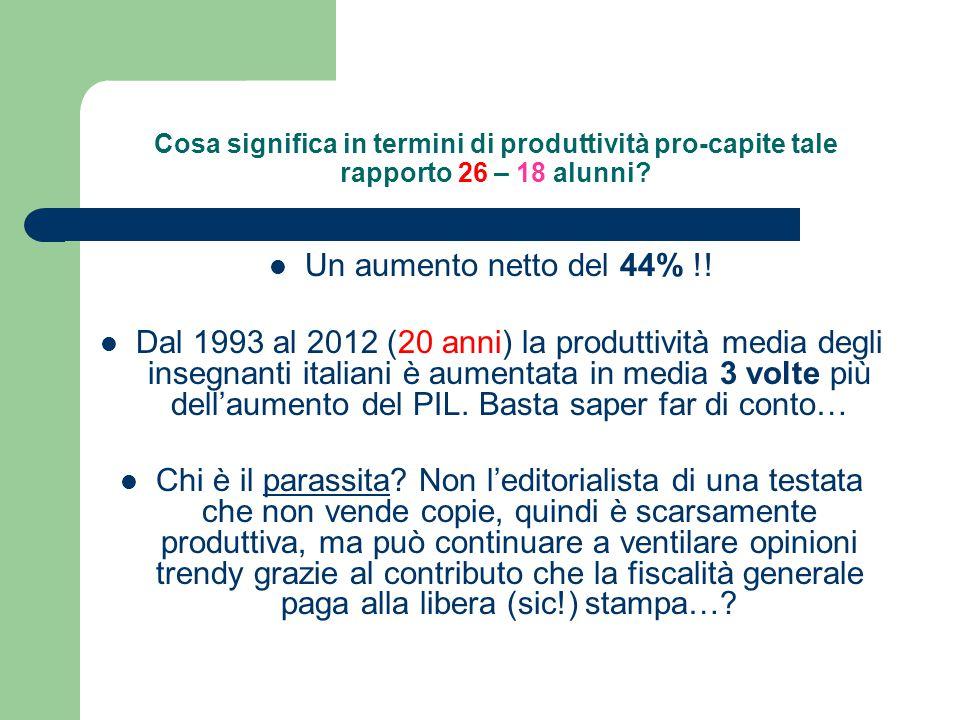 Cosa significa in termini di produttività pro-capite tale rapporto 26 – 18 alunni.