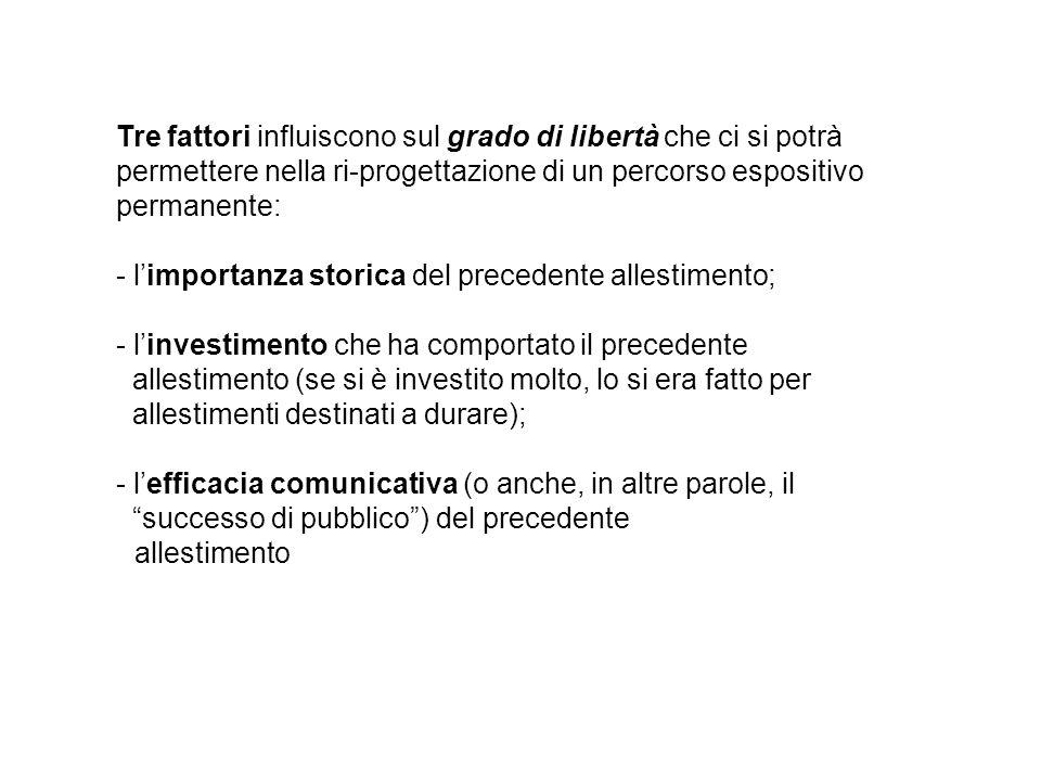 Tre fattori influiscono sul grado di libertà che ci si potrà permettere nella ri-progettazione di un percorso espositivo permanente: - l'importanza st