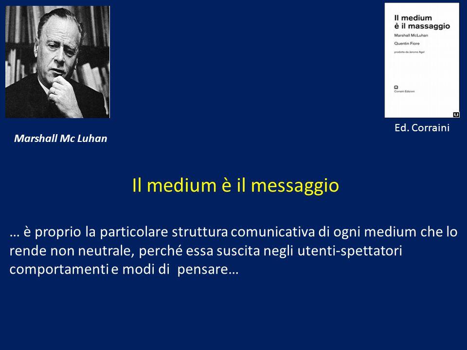 Marshall Mc Luhan Il medium è il messaggio … è proprio la particolare struttura comunicativa di ogni medium che lo rende non neutrale, perché essa sus