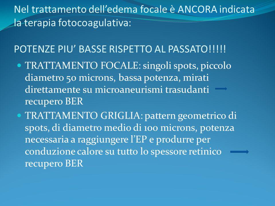 Nel trattamento dell'edema focale è ANCORA indicata la terapia fotocoagulativa: POTENZE PIU' BASSE RISPETTO AL PASSATO!!!!! TRATTAMENTO FOCALE: singol