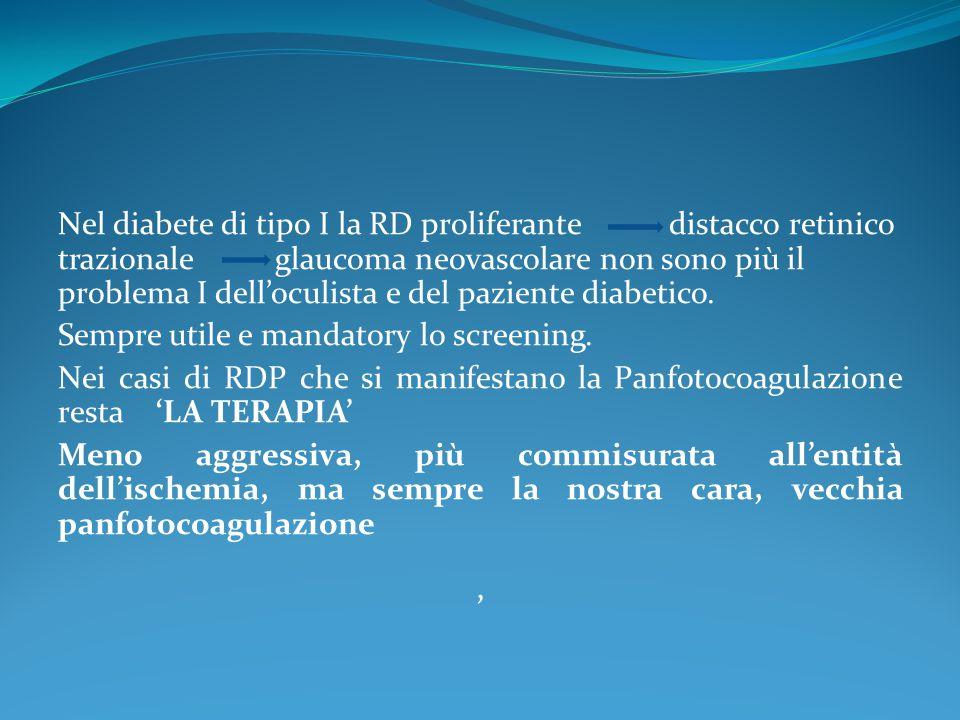 Nel diabete di tipo I la RD proliferante distacco retinico trazionale glaucoma neovascolare non sono più il problema I dell'oculista e del paziente di