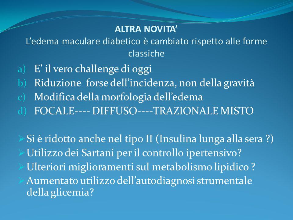 ALTRA NOVITA' L'edema maculare diabetico è cambiato rispetto alle forme classiche a) E' il vero challenge di oggi b) Riduzione forse dell'incidenza, n