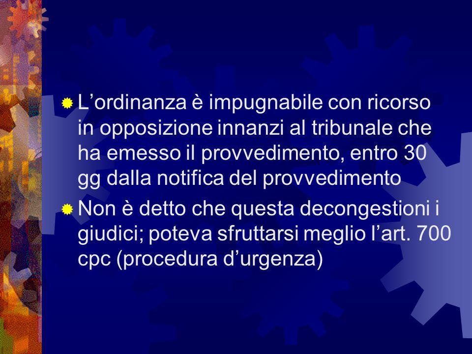  L'ordinanza è impugnabile con ricorso in opposizione innanzi al tribunale che ha emesso il provvedimento, entro 30 gg dalla notifica del provvedimen