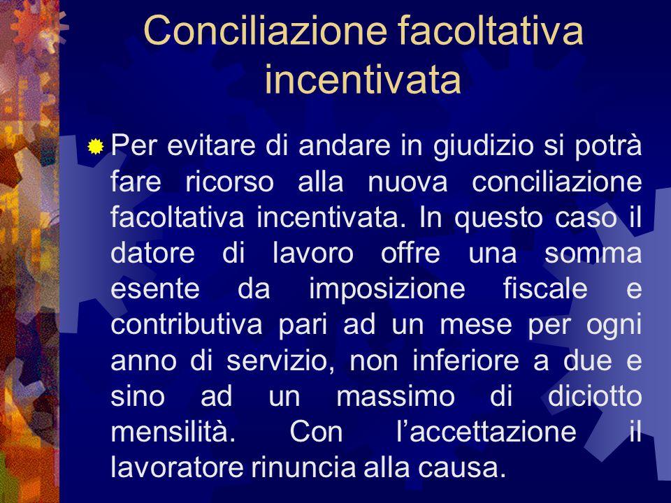 Conciliazione facoltativa incentivata  Per evitare di andare in giudizio si potrà fare ricorso alla nuova conciliazione facoltativa incentivata. In q