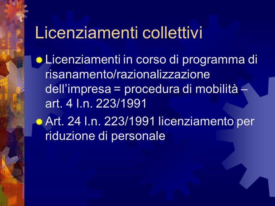 Licenziamenti collettivi  Licenziamenti in corso di programma di risanamento/razionalizzazione dell'impresa = procedura di mobilità – art. 4 l.n. 223