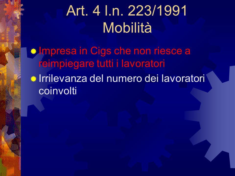 Art. 4 l.n. 223/1991 Mobilità  Impresa in Cigs che non riesce a reimpiegare tutti i lavoratori  Irrilevanza del numero dei lavoratori coinvolti
