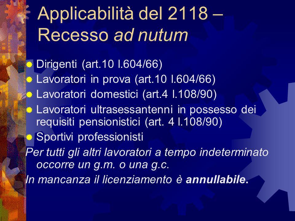 Applicabilità del 2118 – Recesso ad nutum  Dirigenti (art.10 l.604/66)  Lavoratori in prova (art.10 l.604/66)  Lavoratori domestici (art.4 l.108/90)  Lavoratori ultrasessantenni in possesso dei requisiti pensionistici (art.
