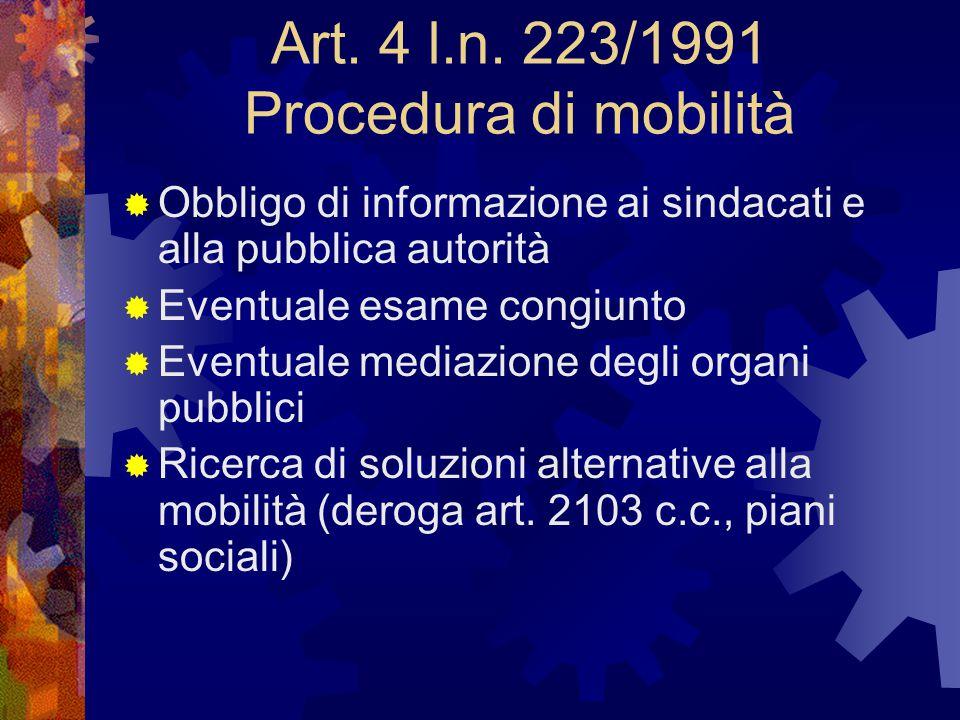 Art. 4 l.n. 223/1991 Procedura di mobilità  Obbligo di informazione ai sindacati e alla pubblica autorità  Eventuale esame congiunto  Eventuale med
