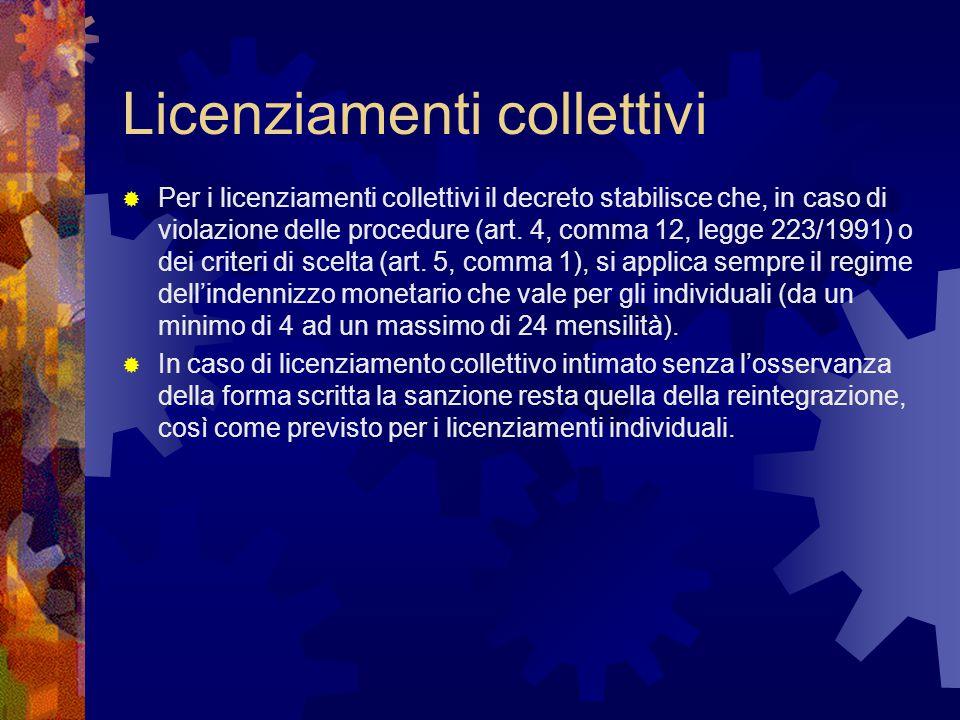 Licenziamenti collettivi  Per i licenziamenti collettivi il decreto stabilisce che, in caso di violazione delle procedure (art. 4, comma 12, legge 22