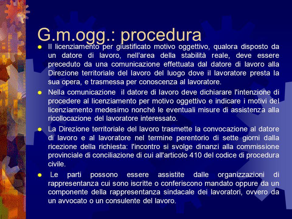 G.m.ogg.: procedura  Il licenziamento per giustificato motivo oggettivo, qualora disposto da un datore di lavoro, nell'area della stabilità reale, de