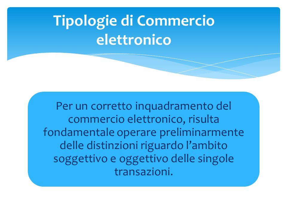 Per un corretto inquadramento del commercio elettronico, risulta fondamentale operare preliminarmente delle distinzioni riguardo l'ambito soggettivo e oggettivo delle singole transazioni.