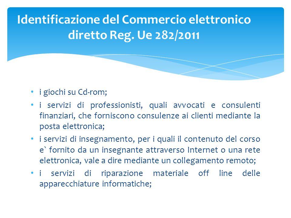 i giochi su Cd-rom; i servizi di professionisti, quali avvocati e consulenti finanziari, che forniscono consulenze ai clienti mediante la posta elettr