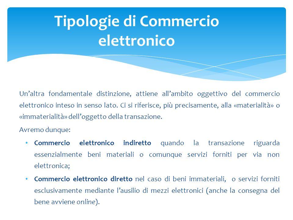 Un'altra fondamentale distinzione, attiene all'ambito oggettivo del commercio elettronico inteso in senso lato. Ci si riferisce, più precisamente, all