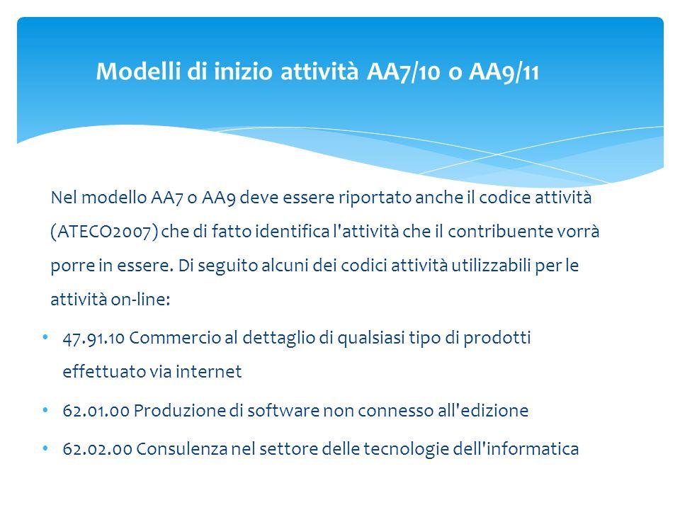 Nel modello AA7 o AA9 deve essere riportato anche il codice attività (ATECO2007) che di fatto identifica l attività che il contribuente vorrà porre in essere.