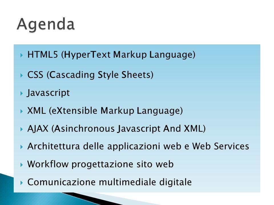  HTML5 (HyperText Markup Language)  CSS (Cascading Style Sheets)  Javascript  XML (eXtensible Markup Language)  AJAX (Asinchronous Javascript And