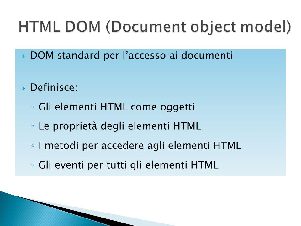  DOM standard per l'accesso ai documenti  Definisce: ◦ Gli elementi HTML come oggetti ◦ Le proprietà degli elementi HTML ◦ I metodi per accedere agl