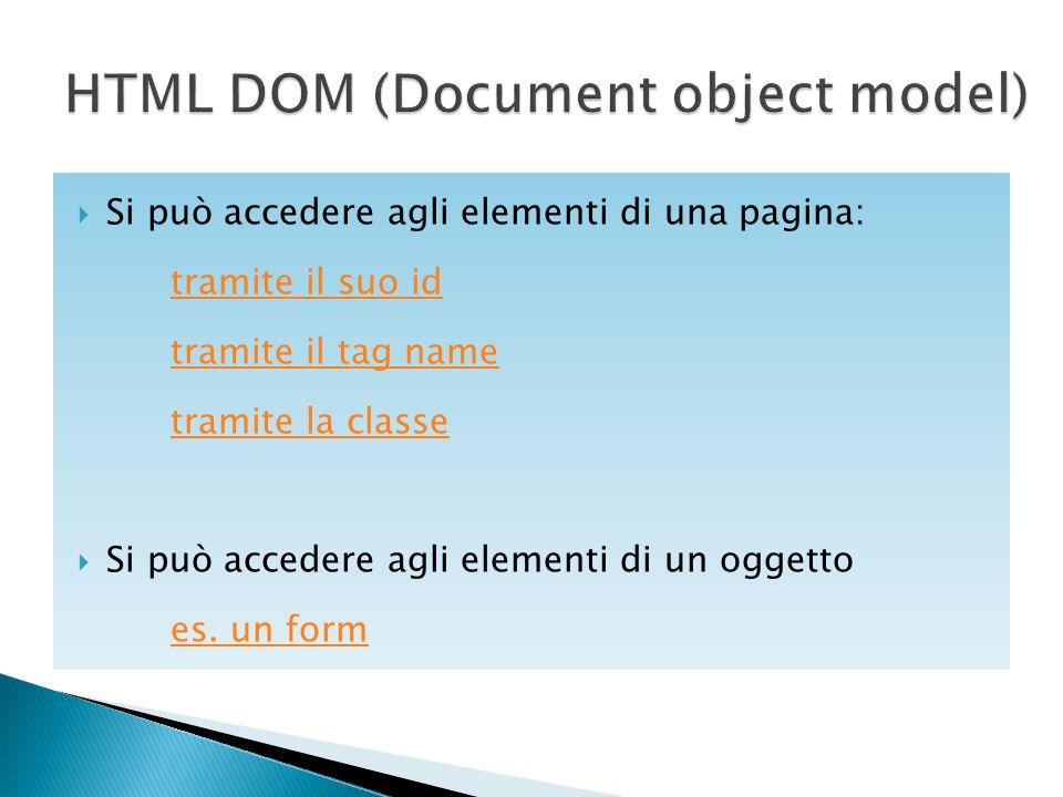  Si può accedere agli elementi di una pagina: tramite il suo id tramite il tag name tramite la classe  Si può accedere agli elementi di un oggetto e