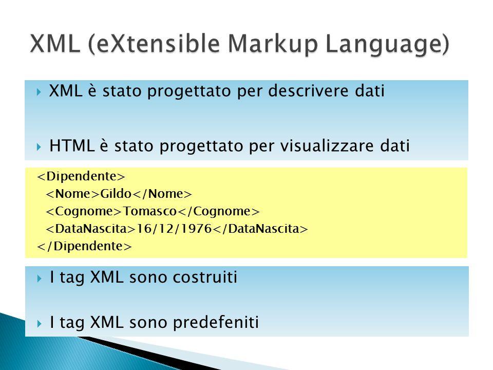  XML è stato progettato per descrivere dati  HTML è stato progettato per visualizzare dati Gildo Tomasco 16/12/1976  I tag XML sono costruiti  I t