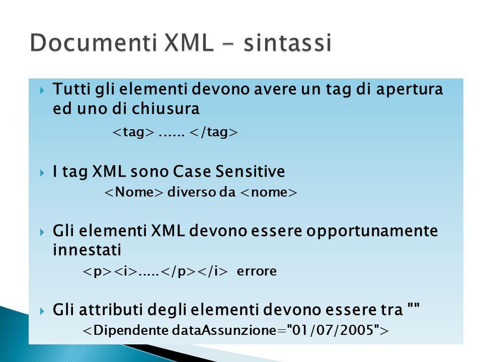  Tutti gli elementi devono avere un tag di apertura ed uno di chiusura......  I tag XML sono Case Sensitive diverso da  Gli elementi XML devono ess