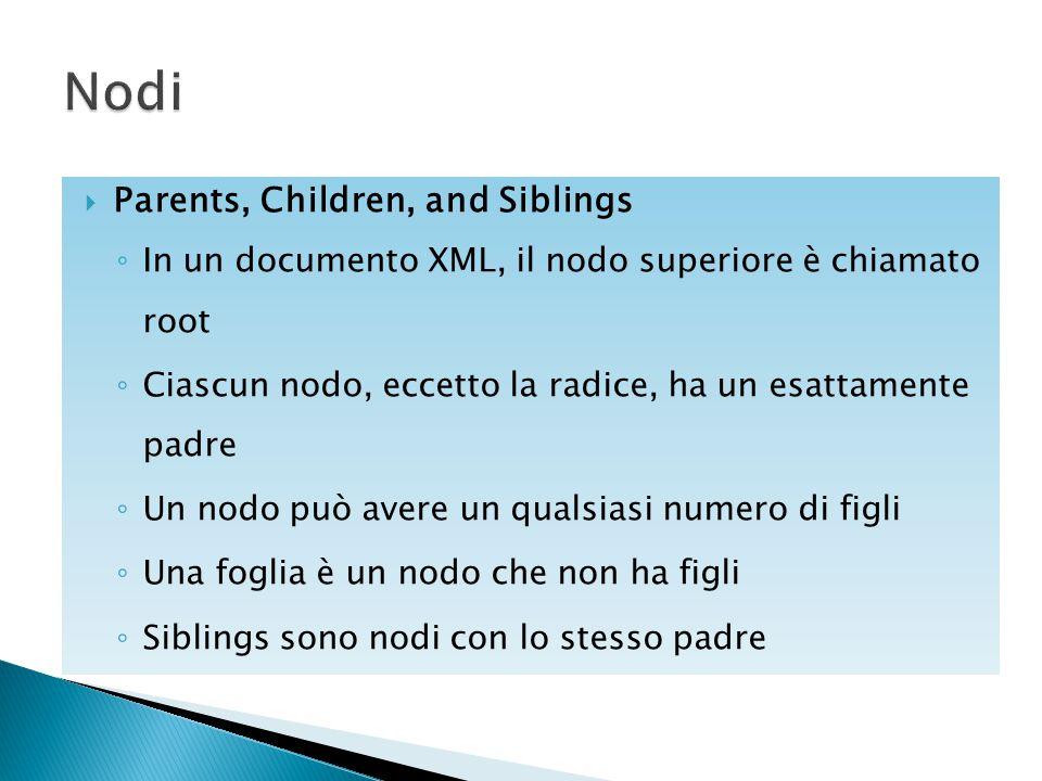  Parents, Children, and Siblings ◦ In un documento XML, il nodo superiore è chiamato root ◦ Ciascun nodo, eccetto la radice, ha un esattamente padre