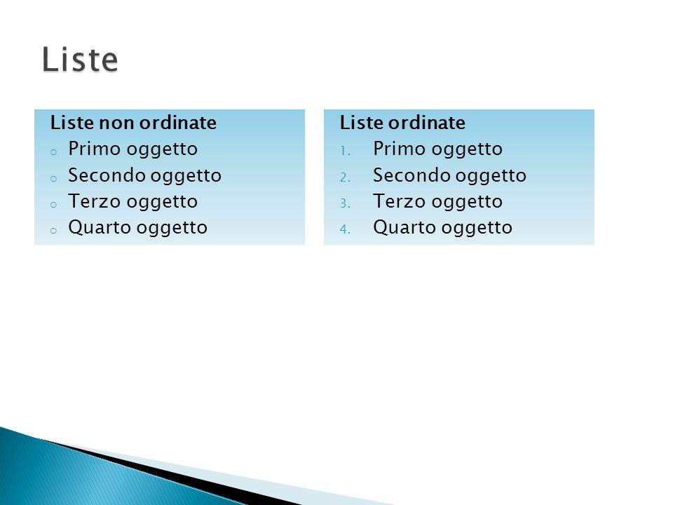 Liste non ordinate o Primo oggetto o Secondo oggetto o Terzo oggetto o Quarto oggetto Liste ordinate 1. Primo oggetto 2. Secondo oggetto 3. Terzo ogge