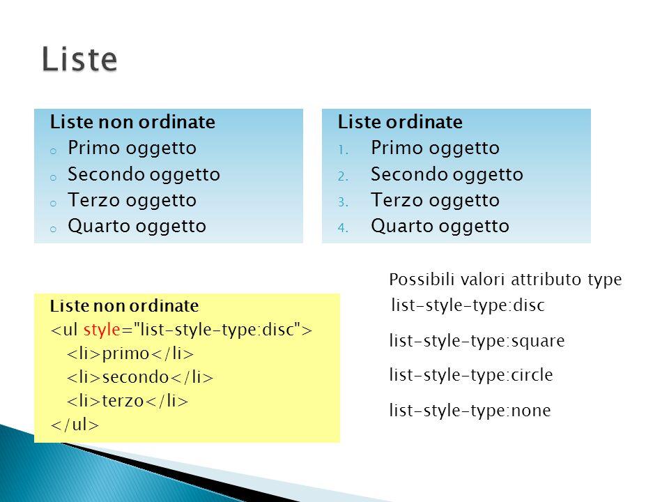 Liste non ordinate primo secondo terzo Liste non ordinate o Primo oggetto o Secondo oggetto o Terzo oggetto o Quarto oggetto list-style-type:square list-style-type:circle list-style-type:none list-style-type:disc Possibili valori attributo type Liste ordinate 1.