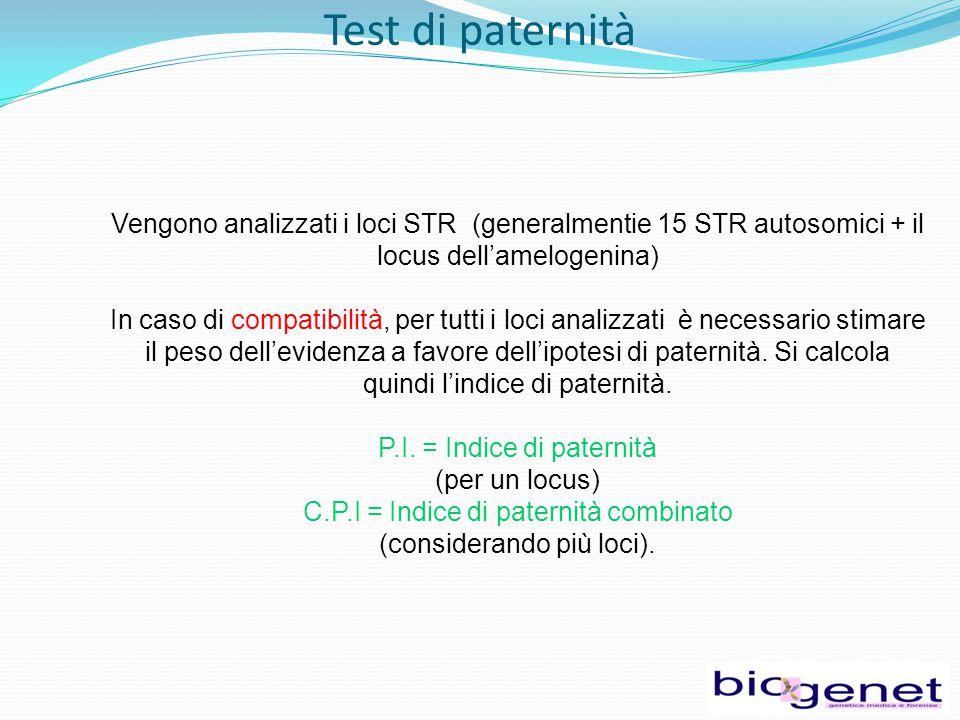 Test di paternità Vengono analizzati i loci STR (generalmentie 15 STR autosomici + il locus dell'amelogenina) In caso di compatibilità, per tutti i loci analizzati è necessario stimare il peso dell'evidenza a favore dell'ipotesi di paternità.