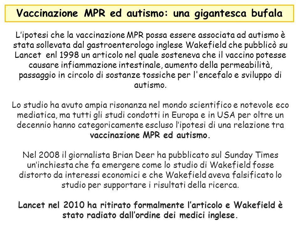 L'ipotesi che la vaccinazione MPR possa essere associata ad autismo è stata sollevata dal gastroenterologo inglese Wakefield che pubblicò su Lancet en