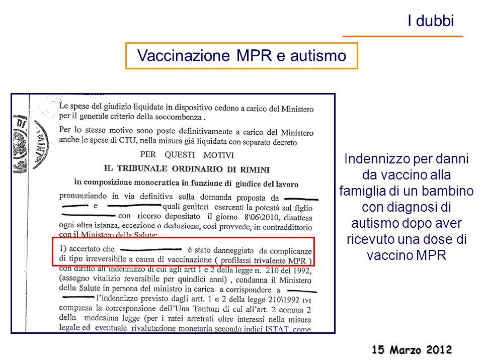 15 Marzo 2012 15 Marzo 2012 Indennizzo per danni da vaccino alla famiglia di un bambino con diagnosi di autismo dopo aver ricevuto una dose di vaccino