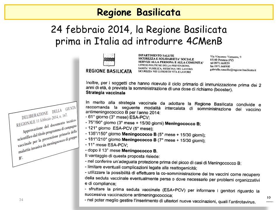 24 febbraio 2014, la Regione Basilicata prima in Italia ad introdurre 4CMenB 34 Regione Basilicata