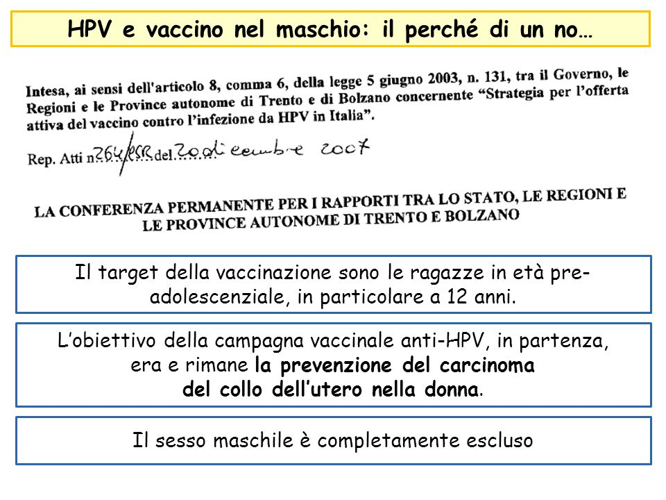 HPV e vaccino nel maschio: il perché di un no… Il target della vaccinazione sono le ragazze in età pre- adolescenziale, in particolare a 12 anni. L'ob