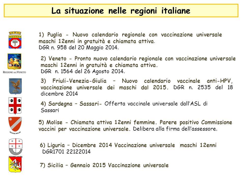 4) Sardegna – Sassari- Offerta vaccinale universale dall'ASL di Sassari 3) Friuli-Venezia-Giulia – Nuovo calendario vaccinale anti-HPV, vaccinazione u