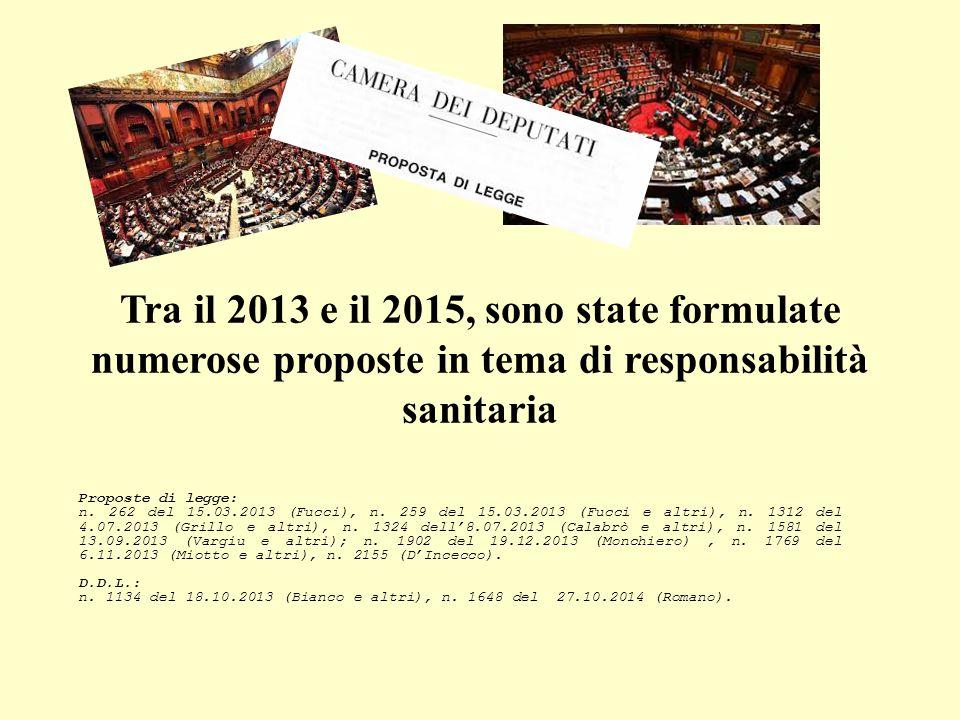 Tra il 2013 e il 2015, sono state formulate numerose proposte in tema di responsabilità sanitaria Proposte di legge: n.