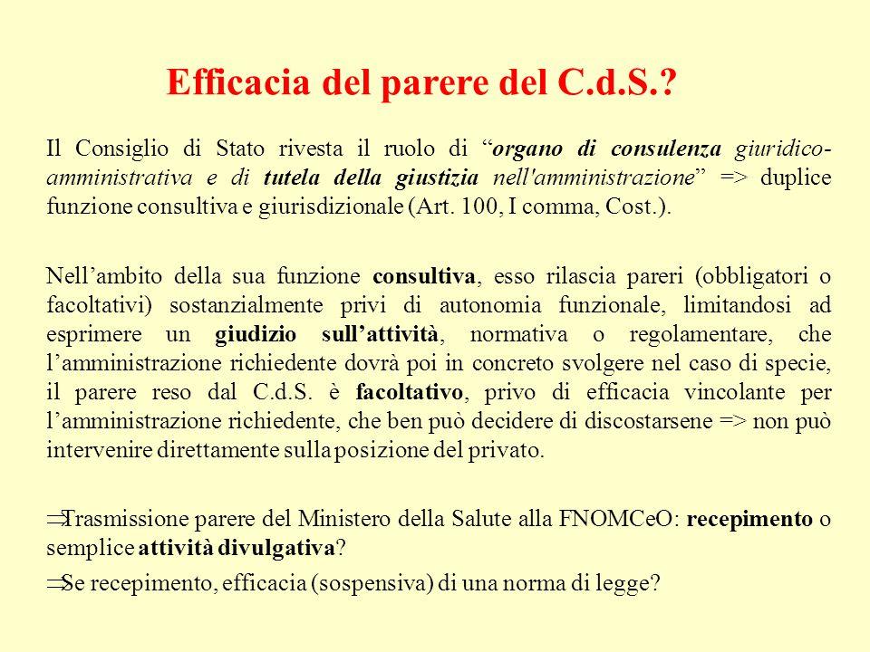 Efficacia del parere del C.d.S..