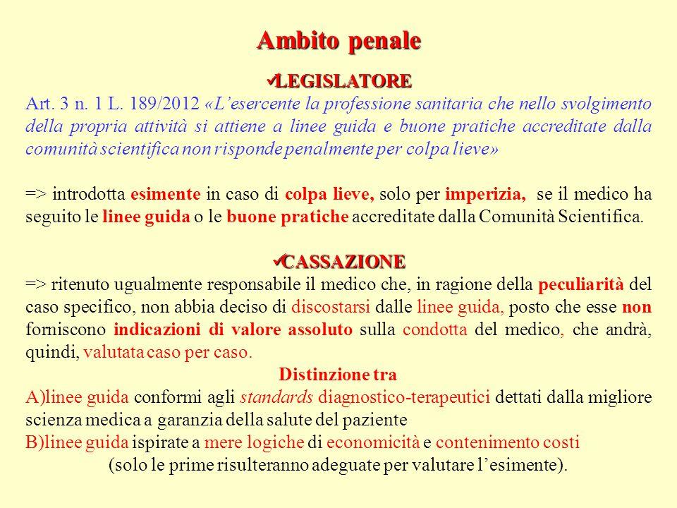 Ambito penale LEGISLATORE LEGISLATORE Art.3 n. 1 L.