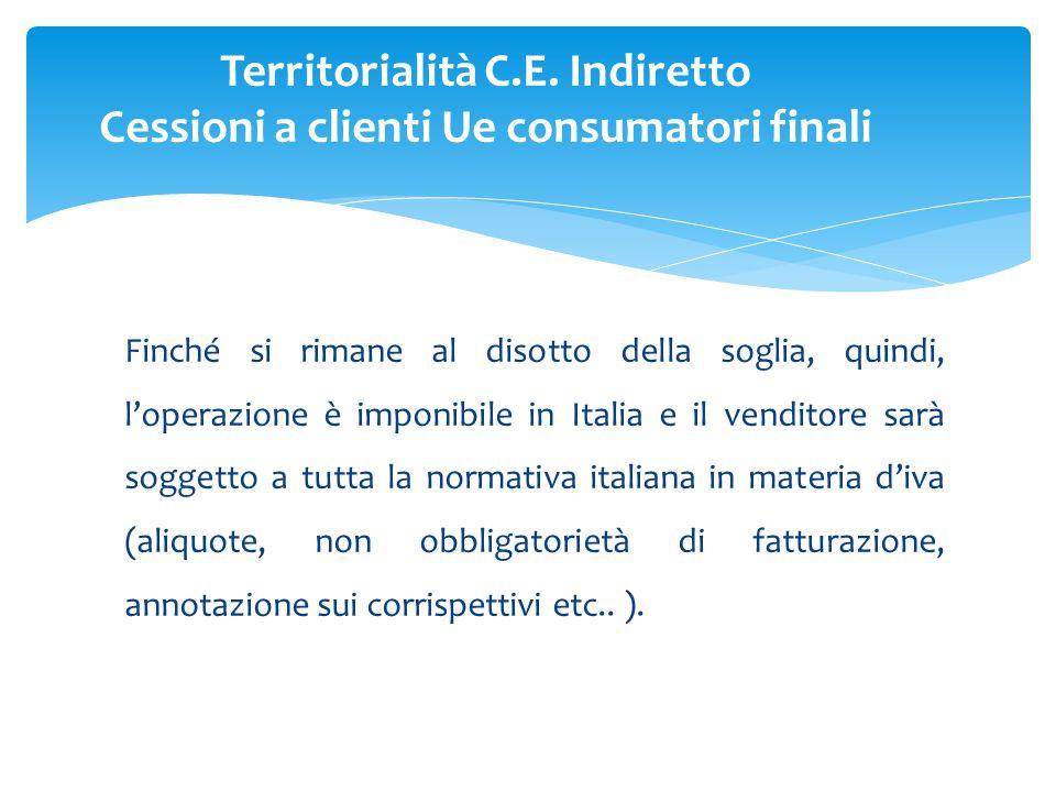 Finché si rimane al disotto della soglia, quindi, l'operazione è imponibile in Italia e il venditore sarà soggetto a tutta la normativa italiana in materia d'iva (aliquote, non obbligatorietà di fatturazione, annotazione sui corrispettivi etc..