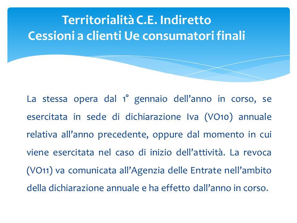 La stessa opera dal 1° gennaio dell'anno in corso, se esercitata in sede di dichiarazione Iva (VO10) annuale relativa all'anno precedente, oppure dal momento in cui viene esercitata nel caso di inizio dell'attività.
