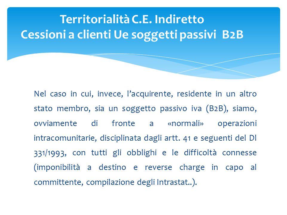 Nel caso in cui, invece, l'acquirente, residente in un altro stato membro, sia un soggetto passivo iva (B2B), siamo, ovviamente di fronte a «normali» operazioni intracomunitarie, disciplinata dagli artt.