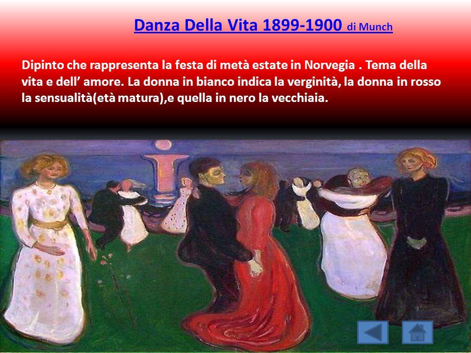 Danza Della Vita 1899-1900 di Munch Dipinto che rappresenta la festa di metà estate in Norvegia. Tema della vita e dell' amore. La donna in bianco ind