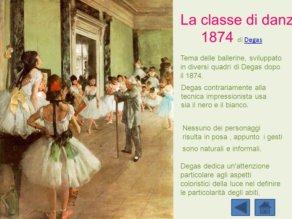 Tema delle ballerine, sviluppato in diversi quadri di Degas dopo il 1874. Degas contrariamente alla tecnica impressionista usa sia il nero e il bianco