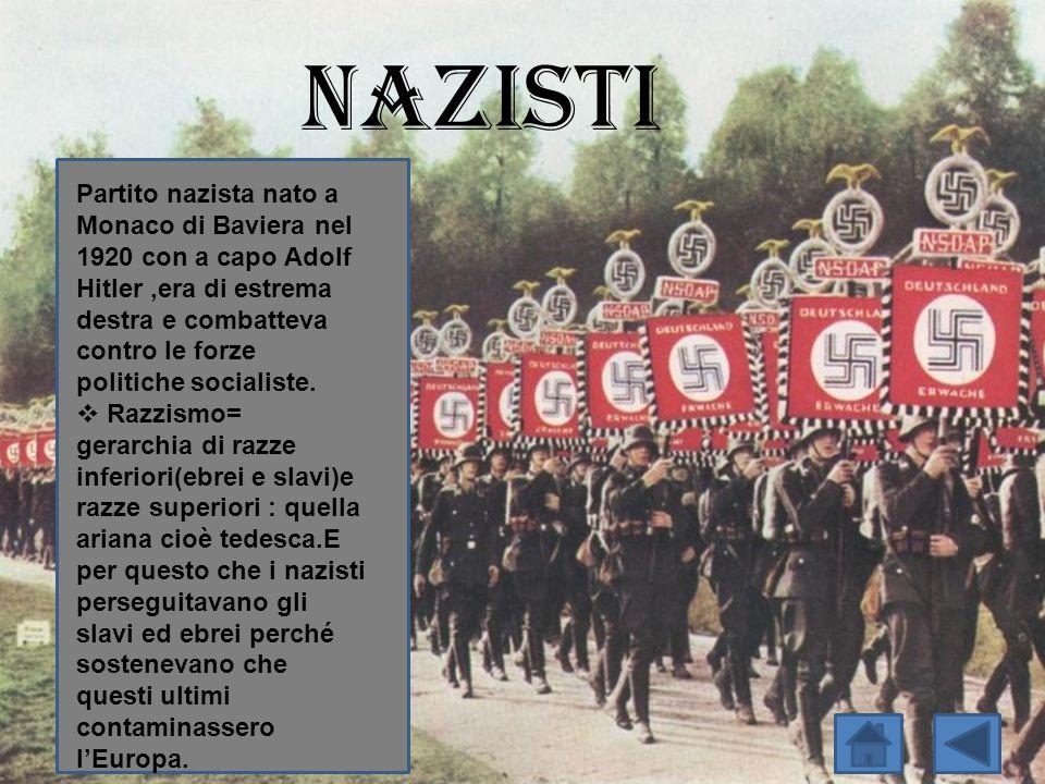 Nazisti Partito nazista nato a Monaco di Baviera nel 1920 con a capo Adolf Hitler,era di estrema destra e combatteva contro le forze politiche sociali