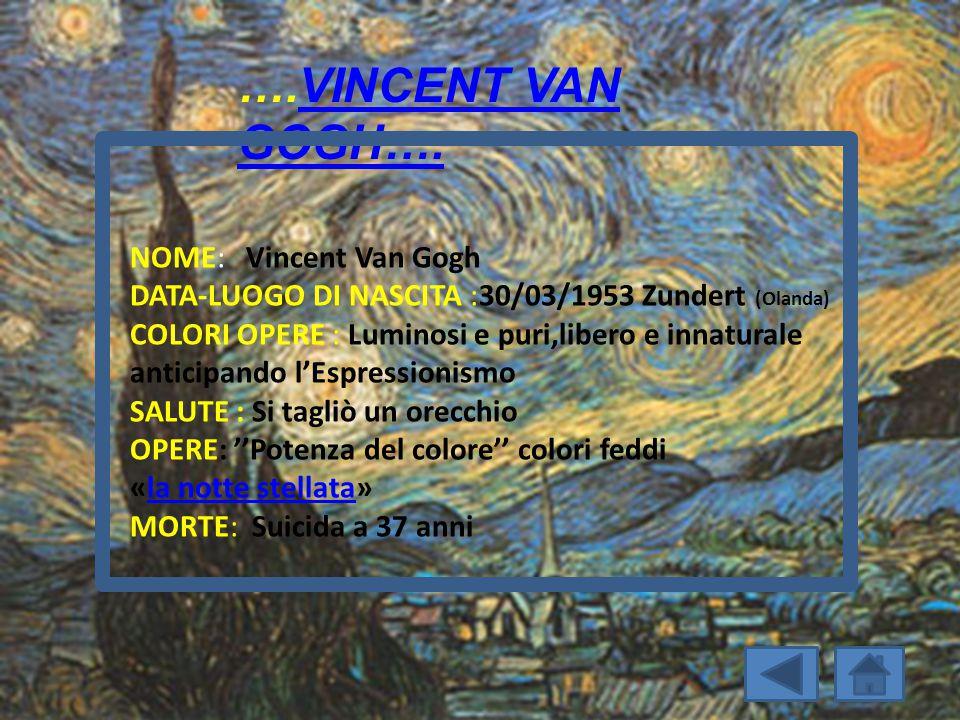 ….VINCENT VAN GOGH….VINCENT VAN GOGH…. NOME: Vincent Van Gogh DATA-LUOGO DI NASCITA :30/03/1953 Zundert (Olanda) COLORI OPERE : Luminosi e puri,libero