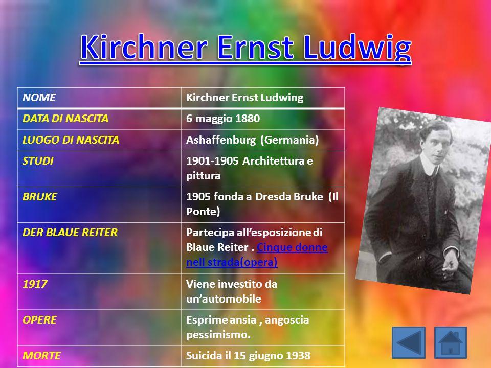NOMEKirchner Ernst Ludwing DATA DI NASCITA6 maggio 1880 LUOGO DI NASCITAAshaffenburg (Germania) STUDI1901-1905 Architettura e pittura BRUKE1905 fonda