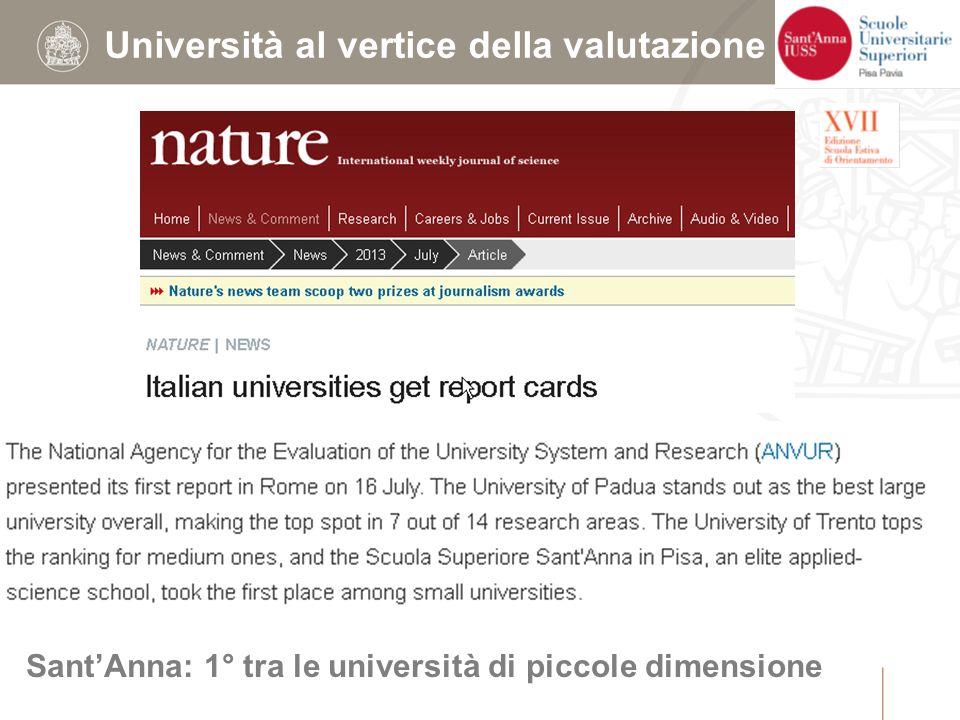 Università al vertice della valutazione Sant'Anna: 1° tra le università di piccole dimensione