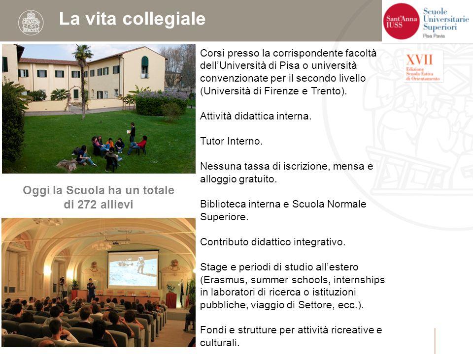 La vita collegiale Oggi la Scuola ha un totale di 272 allievi Corsi presso la corrispondente facoltà dell'Università di Pisa o università convenzionate per il secondo livello (Università di Firenze e Trento).