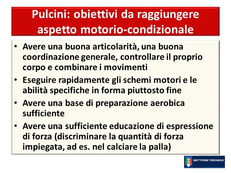 Pulcini: obiettivi da raggiungere aspetto motorio-condizionale Avere una buona articolarità, una buona coordinazione generale, controllare il proprio