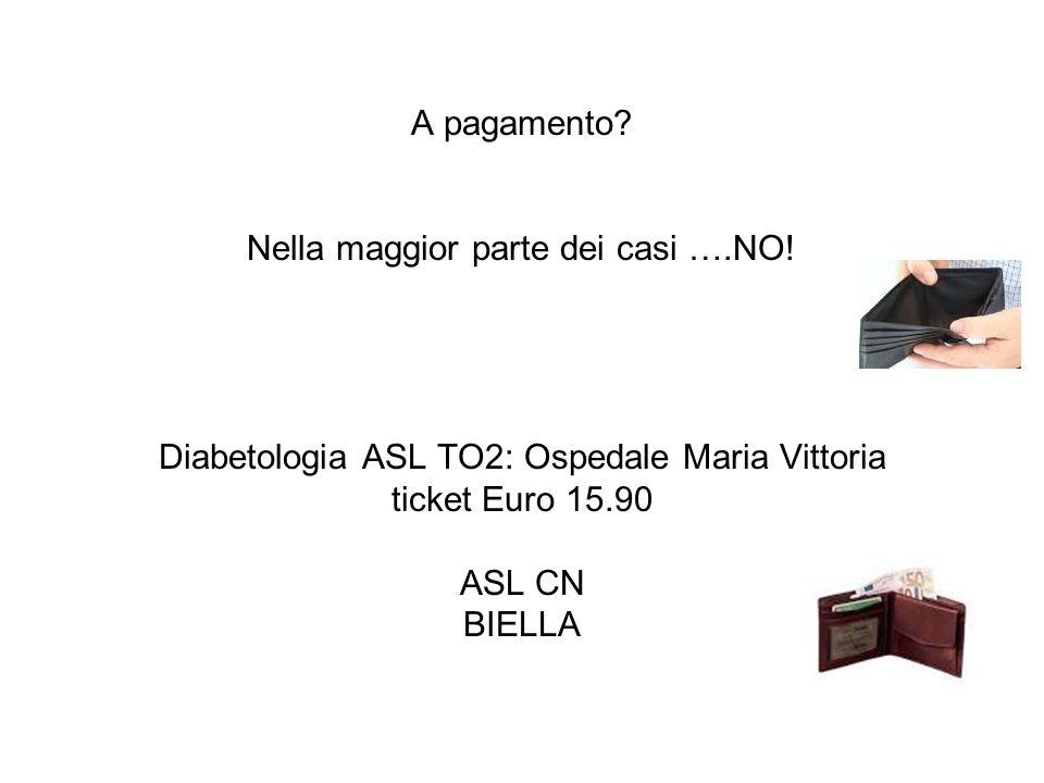 A pagamento? Nella maggior parte dei casi ….NO! Diabetologia ASL TO2: Ospedale Maria Vittoria ticket Euro 15.90 ASL CN BIELLA