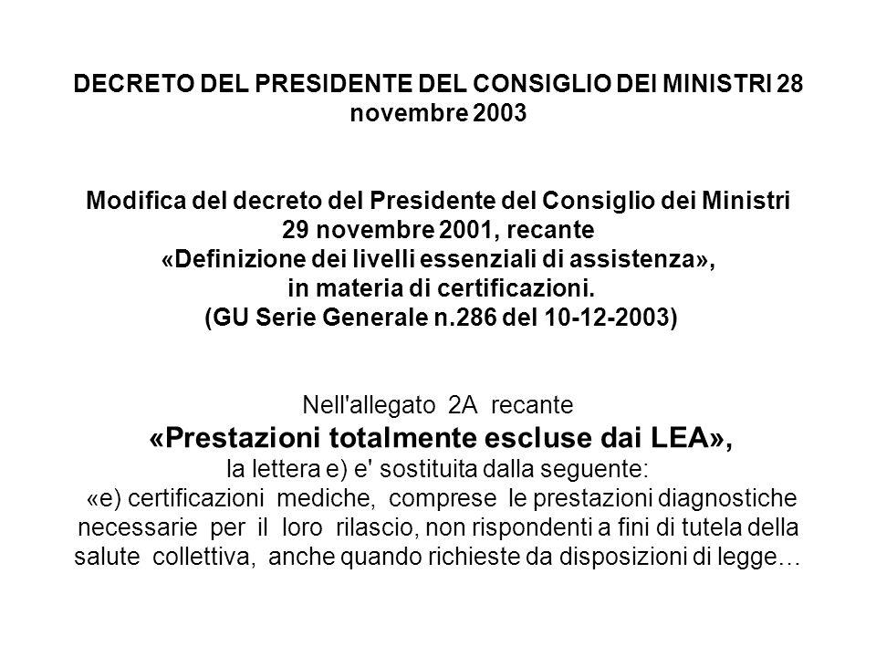 DECRETO DEL PRESIDENTE DEL CONSIGLIO DEI MINISTRI 28 novembre 2003 Modifica del decreto del Presidente del Consiglio dei Ministri 29 novembre 2001, re