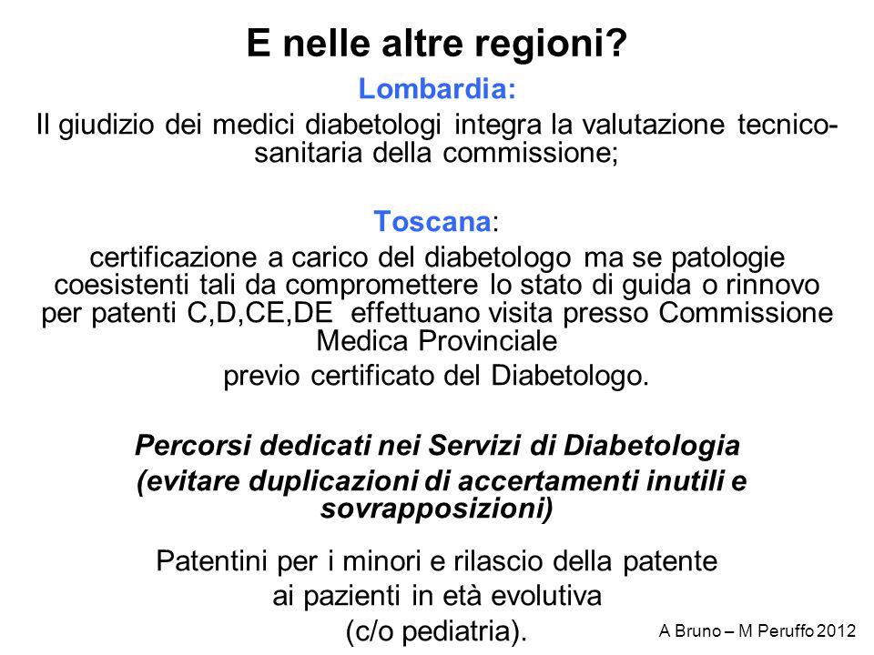 E nelle altre regioni? Lombardia: Il giudizio dei medici diabetologi integra la valutazione tecnico- sanitaria della commissione; Toscana: certificazi